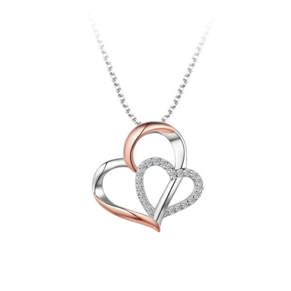Sterling Silver Rose Gold Double Heart Pendant