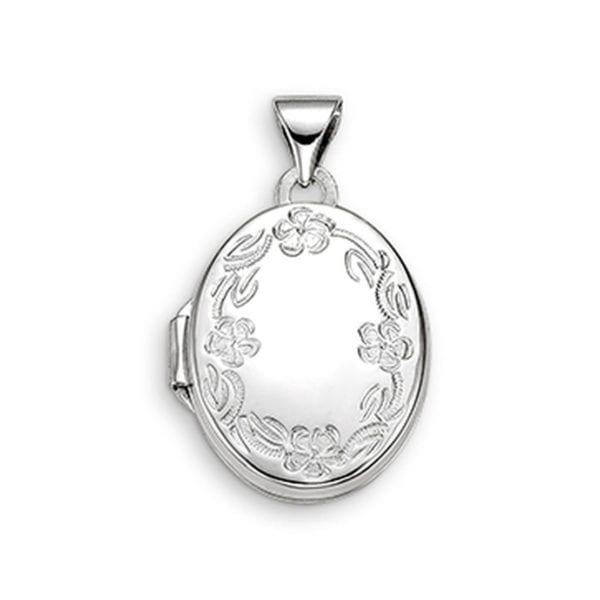 White Gold Locket with Filigree Engraving