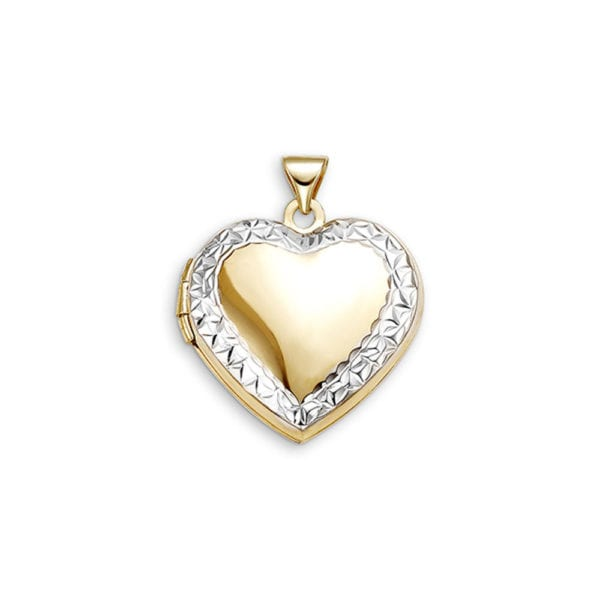 Two Tone, Gold Diamond Cut Locket Pendant