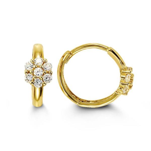 White Gold Cluster Set Hoop Earrings