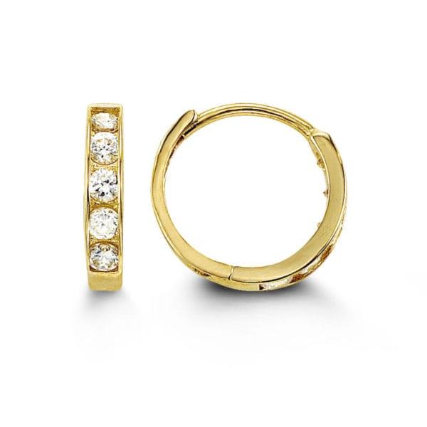 White Gold Channel Set Cubic Zirconia Hoop Earrings