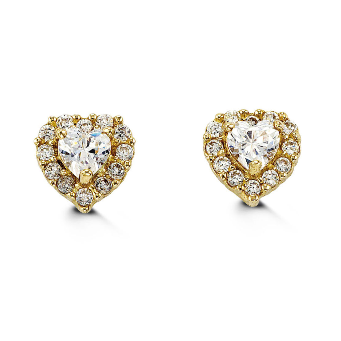 Gold and Cubic Zirconia Heart Earrings