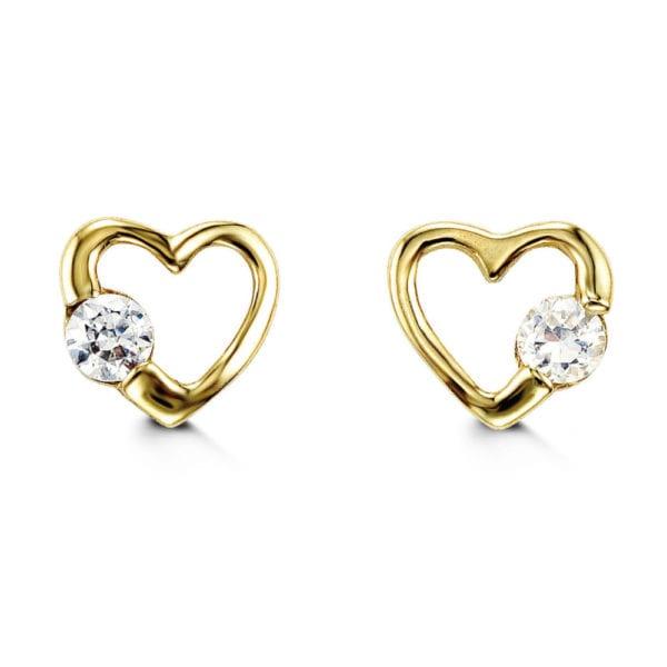 Two Tone, Heart Shaped, Gold Stud Earrings