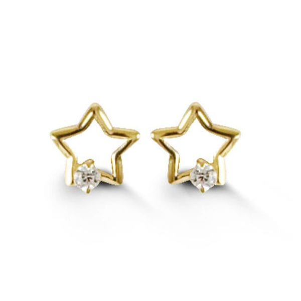 Yellow Gold and Cubic Zirconia Star Shaped Earrings