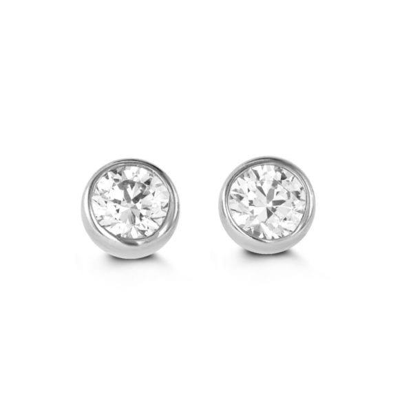 White Gold Cubic Zirconia Bezel Set Earrings