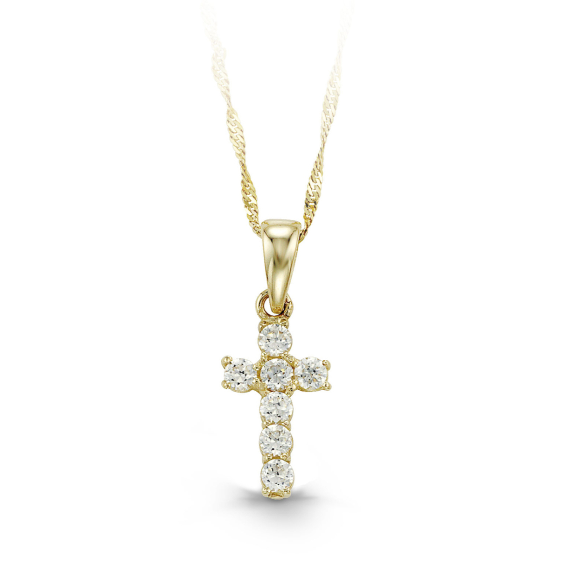 Gold and Cubic Zirconia Cross and Chain