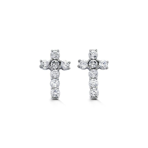 White Gold and Cubic Zirconia Earrings