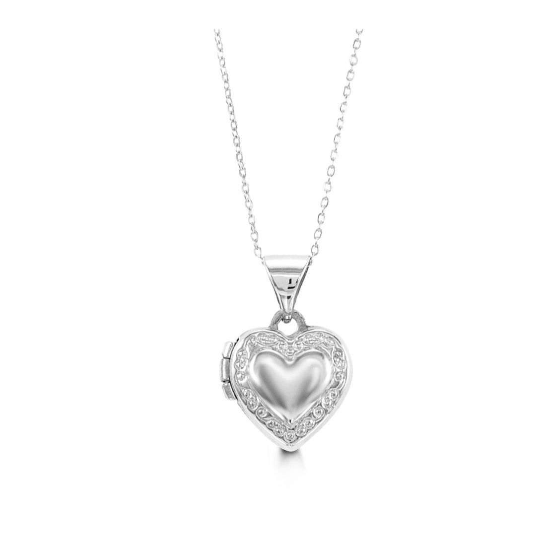 White Gold Locket and Chain