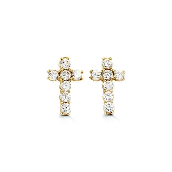 Yelow Gold and Cubic Zirconia Earrings