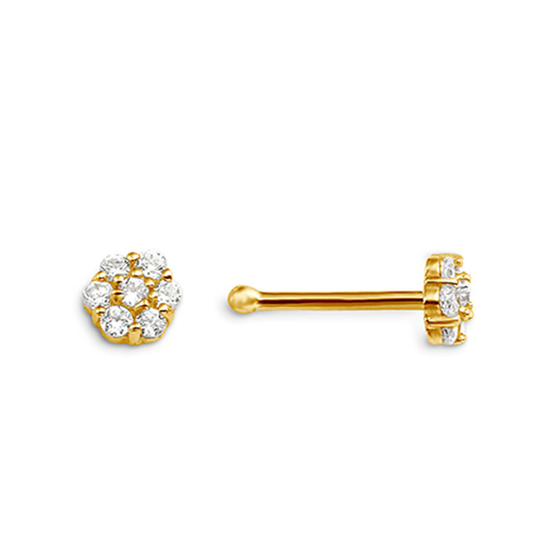 Yellow Gold and Cubic Zirconia Nose Stud