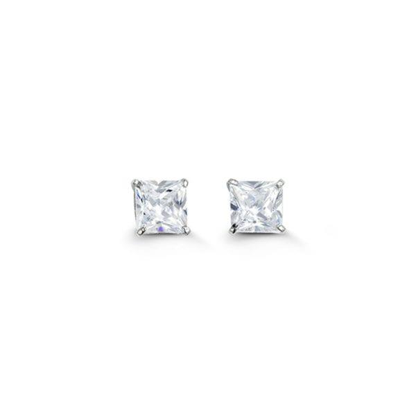 White Gold Princess Cut Cubic Zirconia Earrings