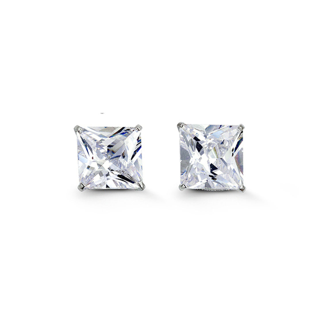 White Gold Princess Cut Cubic Zirconia Stud Earrings