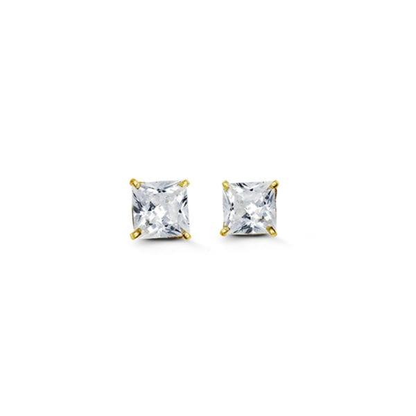 Yellow Gold Princess Cut Cubic Zirconia Earrings
