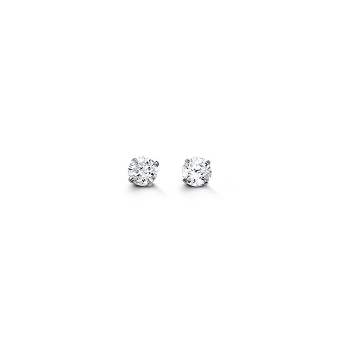 White Gold Round Brilliant Cut Cubic Zirconia Stud Earrings
