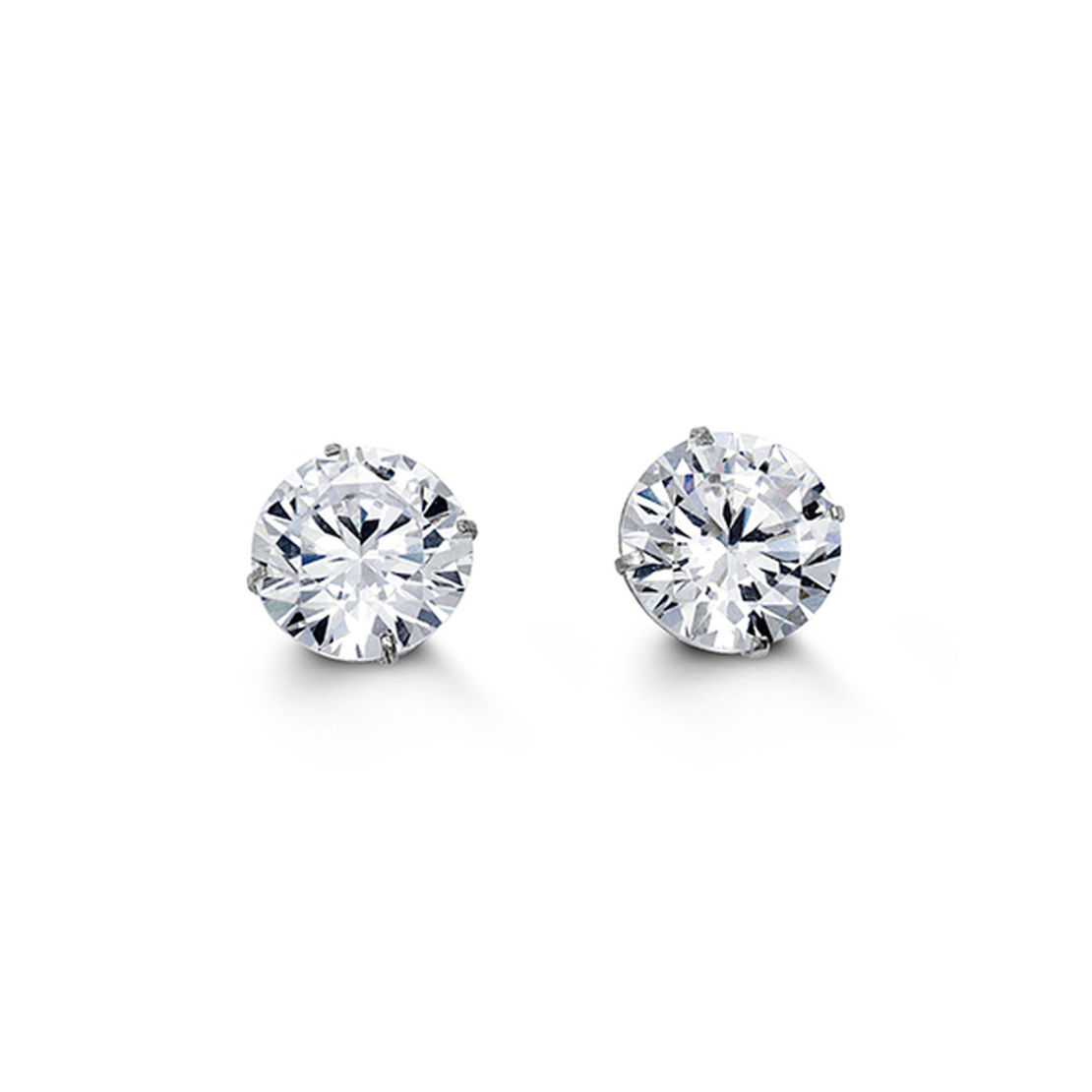 White Gold Brilliant Cut Cubic Zirconia Stud Earrings