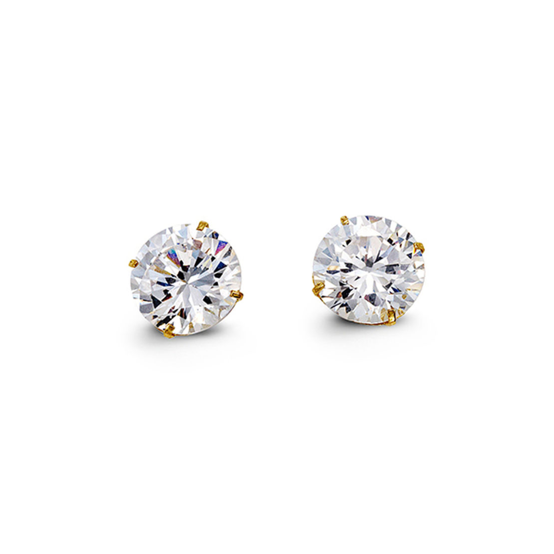 Yellow Gold Brilliant Cut Cubic Zirconia Stud Earrings