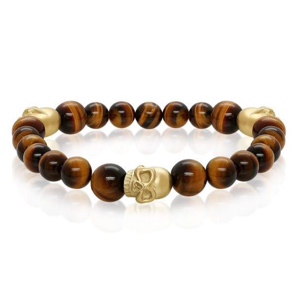 Steel and Gold Skull Bracelet