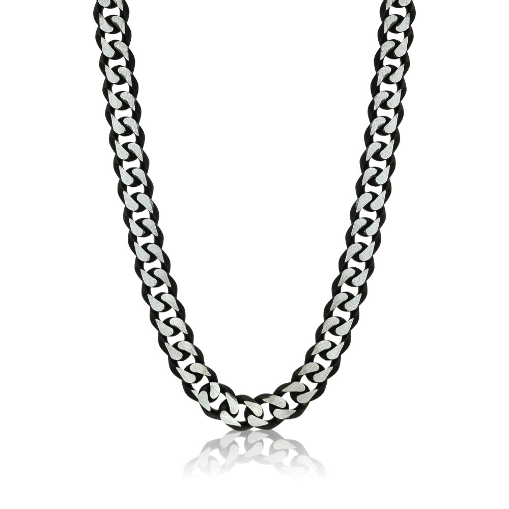 Steel and Black Men's Necklace