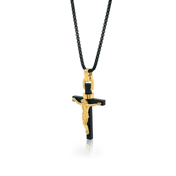 Black Steel and Gold Cross