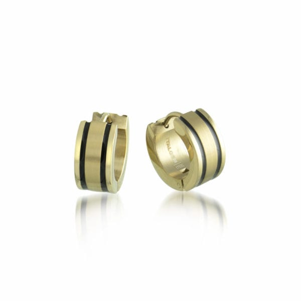 Steel and Gold Huggy Earrings