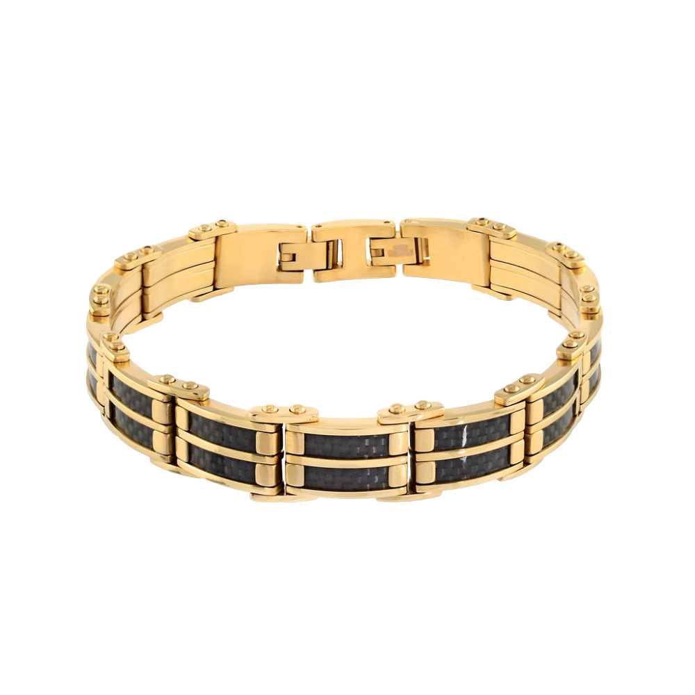 Steel and Gold Bracelet with Carbon Fiber Inlay